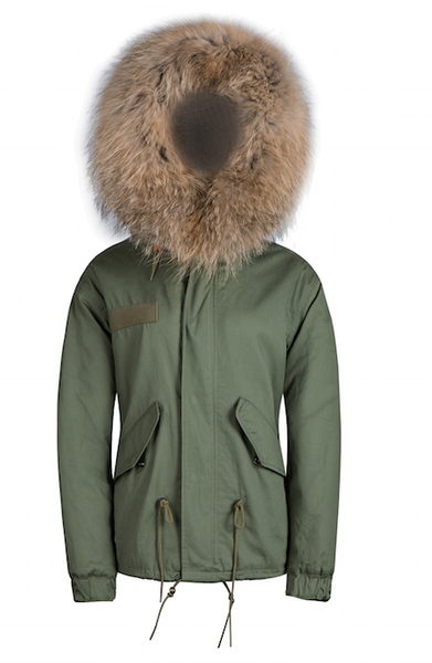 Mens Raccoon Fur Collar Parka Jacket with Natural Fur -  - 3