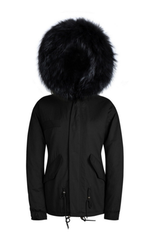 Kids Raccoon Fur Collar Parka Jacket with Black Fur -  - 4