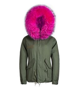 Raccoon Fur Collar Parka Jacket with Fuchsia Fur -  - 1