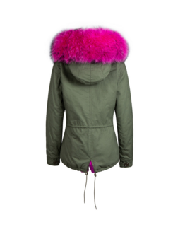 Raccoon Fur Collar Parka Jacket with Fuchsia Fur -  - 3