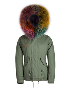 Raccoon Fur Collar Parka Jacket with Multi Coloured Fur 3/4 Long -