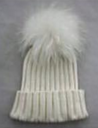 White Hat with White Pom Pom -  - 3