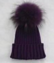 Purple Fur Pom Pom Hat -