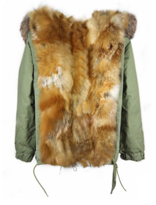 Parka Jacket Full Fox Fur Natural Lined Reversible -  - 1