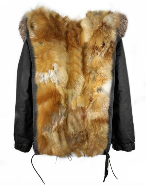Parka Jacket Full Fox Fur Natural Lined Reversible -  - 2