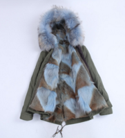 Full Fox Fur Reversible Jacket Pastel Blue -  - 2
