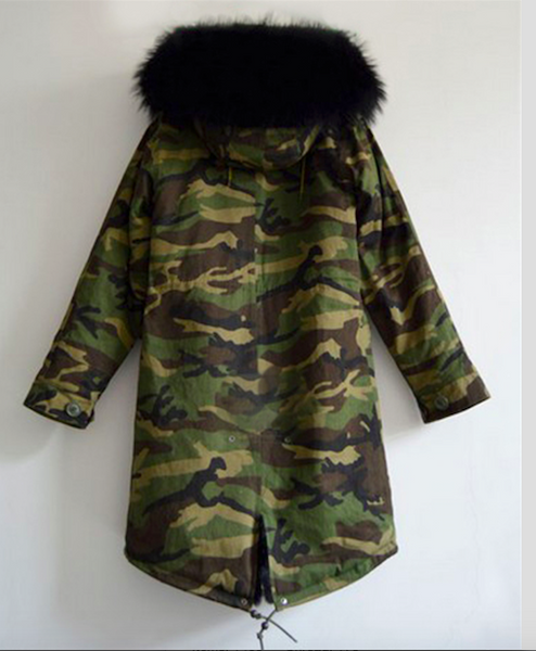 Mens Camo Luxury Parka Jacket with Black Collar 3/4