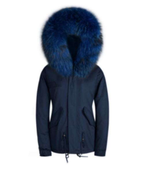 Ladies Faux Fur Parka Jacket with Blue Faux Fur