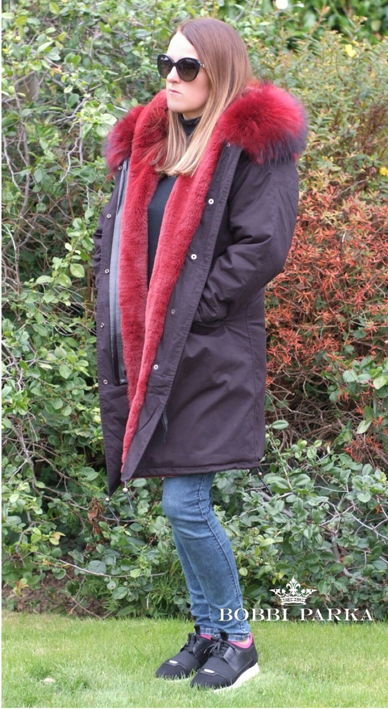 Ladies Luxury Collar Parka Jacket with Red Collar 3/4