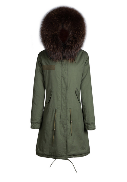 Ladies Luxury Collar Parka Jacket In Chocolate 3/4