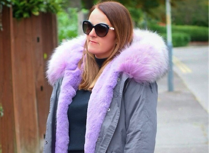 Ladies Grey Luxury Collar Parka with Lilac Collar