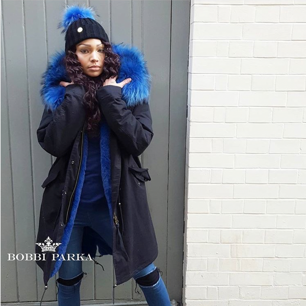 Ladies Luxury Collar Parka Jacket with Blue Collar 3/4
