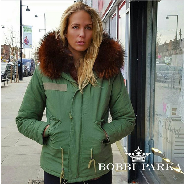 Ladies Luxury Collar Parka Jacket with Chocolate Collar