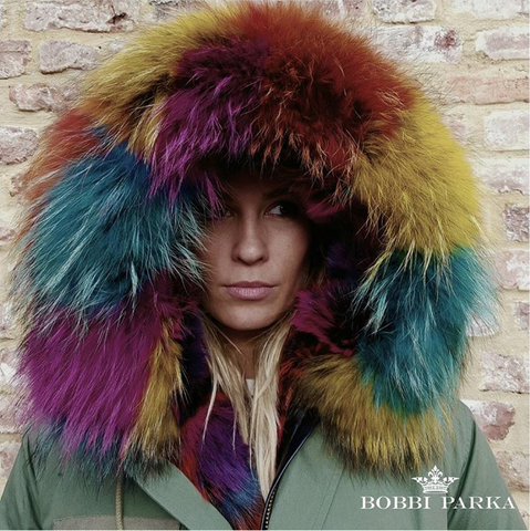 Ladies Luxury Collar Parka Jacket with Multi Coloured Collar 3/4 Long