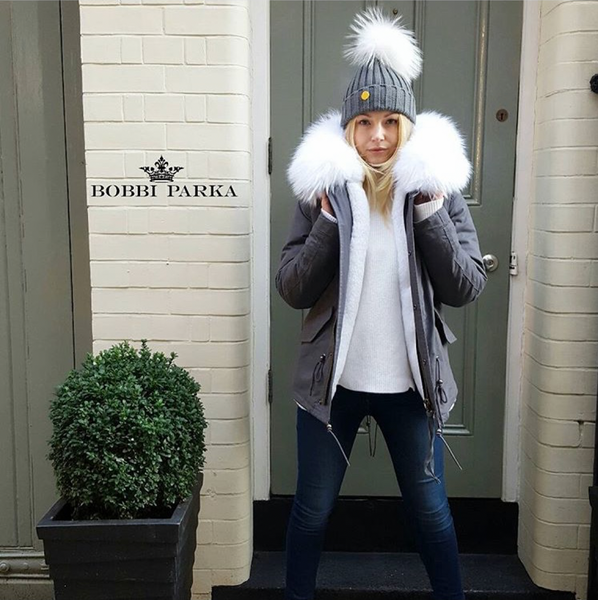 Ladies Luxury Grey Parka Jacket with White Collar
