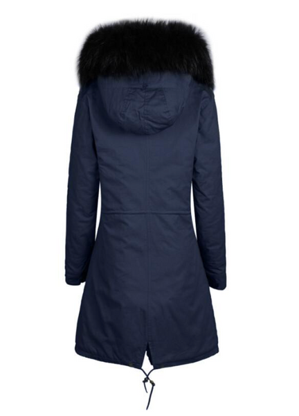 Ladies Luxury Collar Parka Jacket with Black 3/4