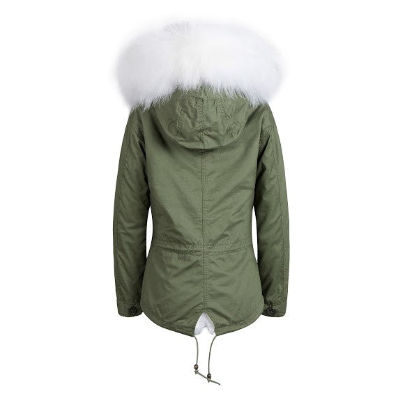 Raccoon Fur Collar Parka Jacket with White Fur -  - 3