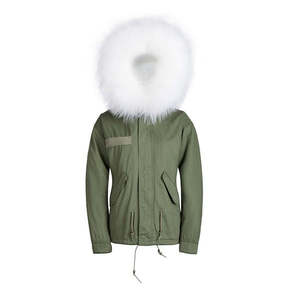 Raccoon Fur Collar Parka Jacket with White Fur -  - 1