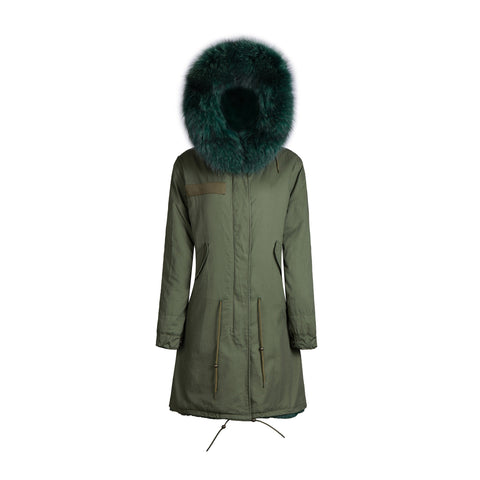 Raccoon Fur Collar Parka Jacket with Green Fur 3/4 -