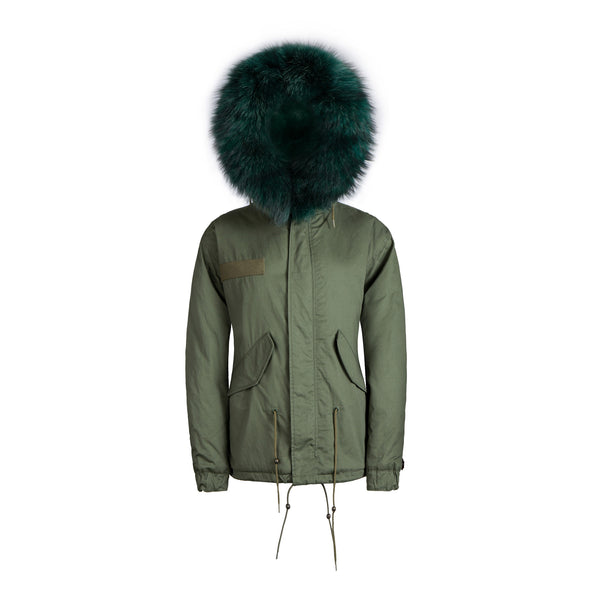 Raccoon Fur Collar Parka Jacket with Green Fur -