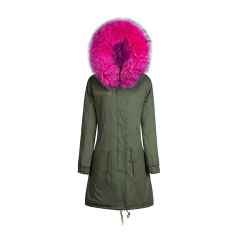 Raccoon Fur Collar Parka Jacket with Fuchsia Fur 3/4 -
