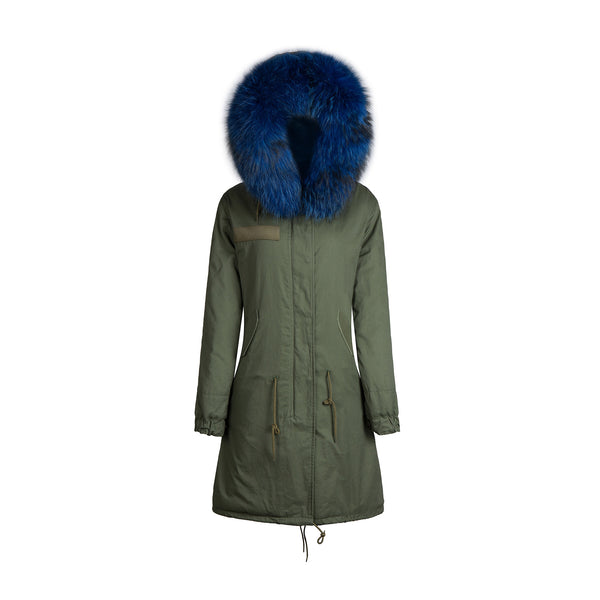 Raccoon Fur Collar Parka Jacket with Blue Fur 3/4 -  - 1