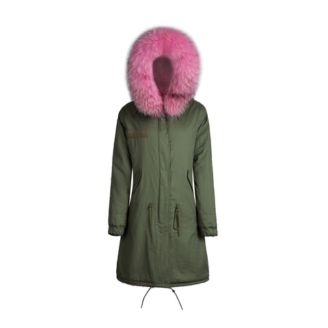 Raccoon Fur Collar Parka Jacket with Pink Fur 3/4 -