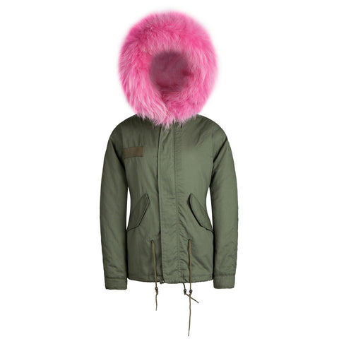 Kids Raccoon Fur Collar Parka Jacket with Pink Fur -  - 1