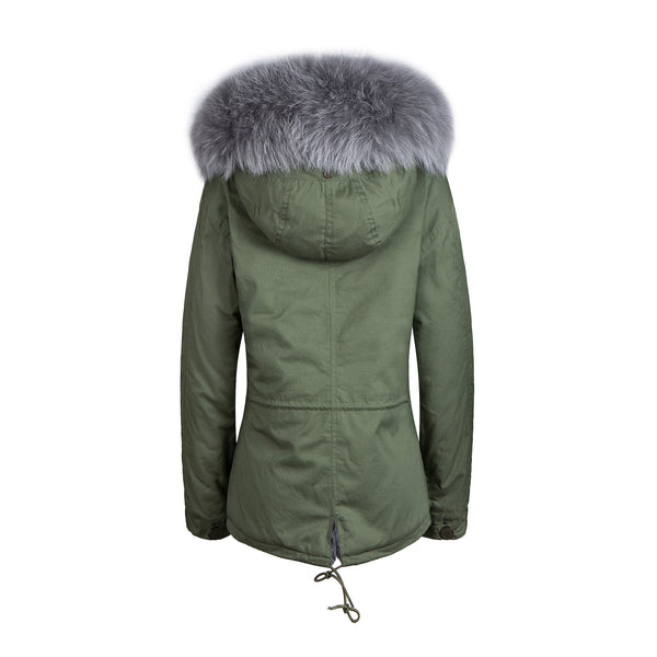 Faux Fur Collar Parka Jacket with Grey Faux Fur -  - 3