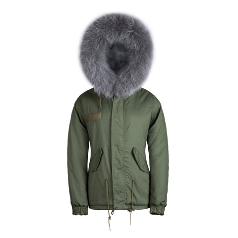 Faux Fur Collar Parka Jacket with Grey Faux Fur -  - 1