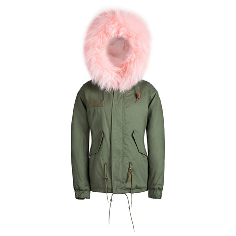Kids Raccoon Fur Collar Parka Jacket with Light Pink Fur -