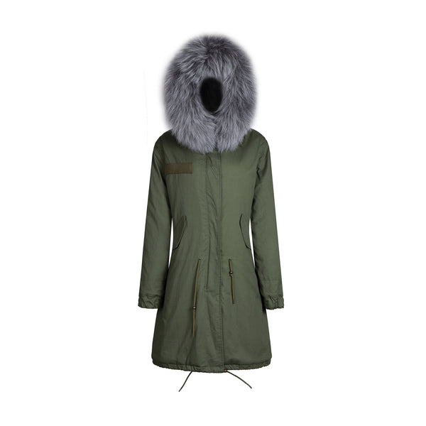 Faux Fur Collar Parka Jacket with Grey Fur 3/4 -  - 1