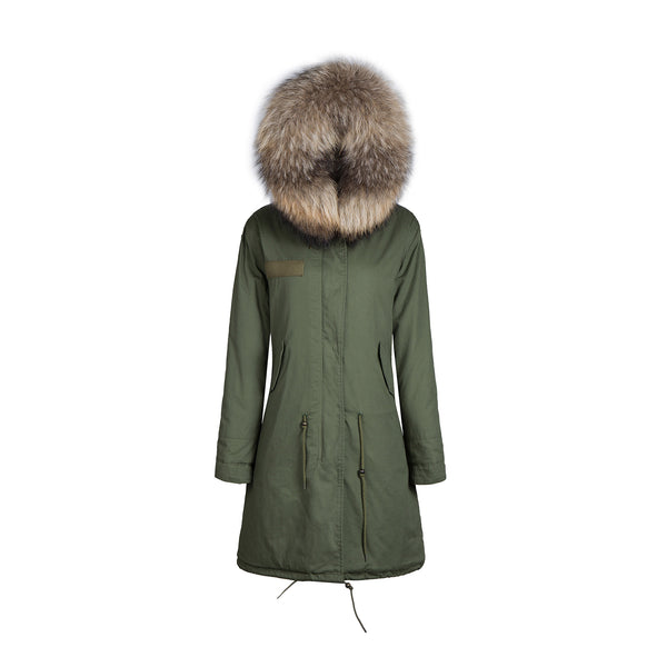Mens Faux Fur Collar Parka Jacket with Natural Faux Fur 3/4 -  - 2