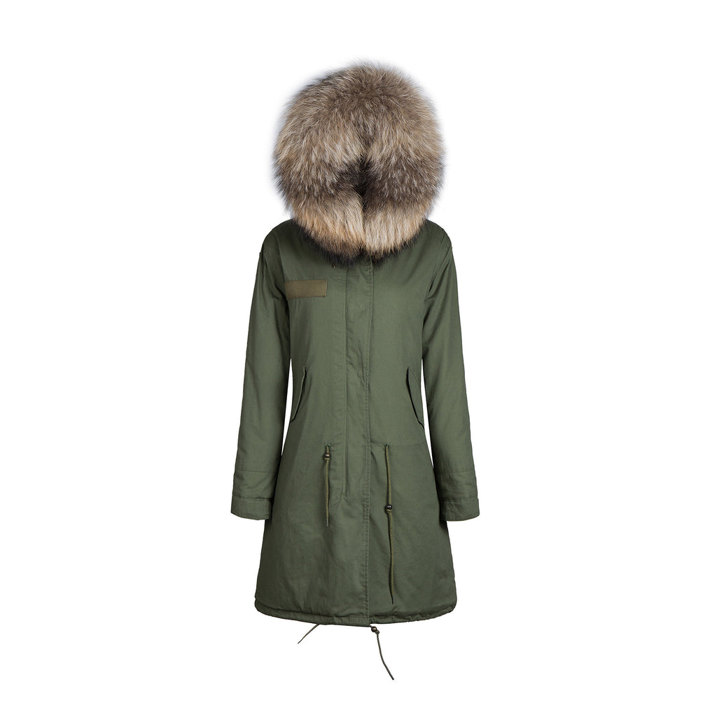 Faux Fur Collar Parka Jacket with Natural Faux Fur 3/4 -