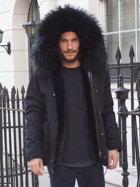 Mens Real Look Faux Fur Collar Parka Jacket with Black Faux Fur
