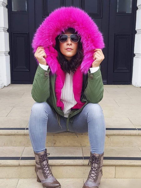 Ladies Luxury Collar Parka Jacket with Fuchsia Collar