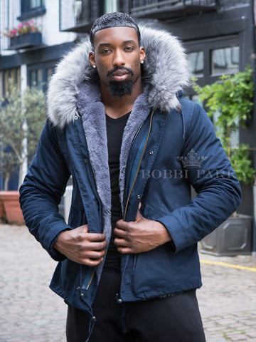 Mens Real Look Faux Fur Collar Parka Jacket with Grey Faux Fur Lining