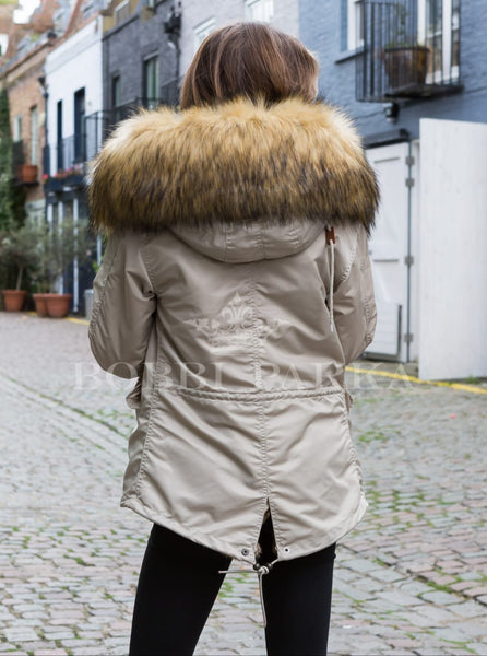 Ladies Real Look Faux Fur Collar Beige Parka Jacket with Natural Faux Fur