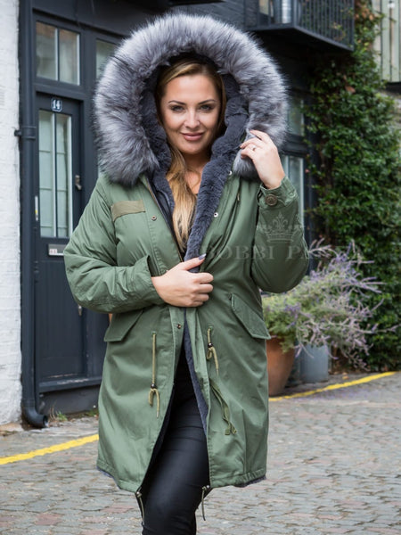 Ladies Faux Fur Collar Parka Jacket with Grey Faux Fur 3/4