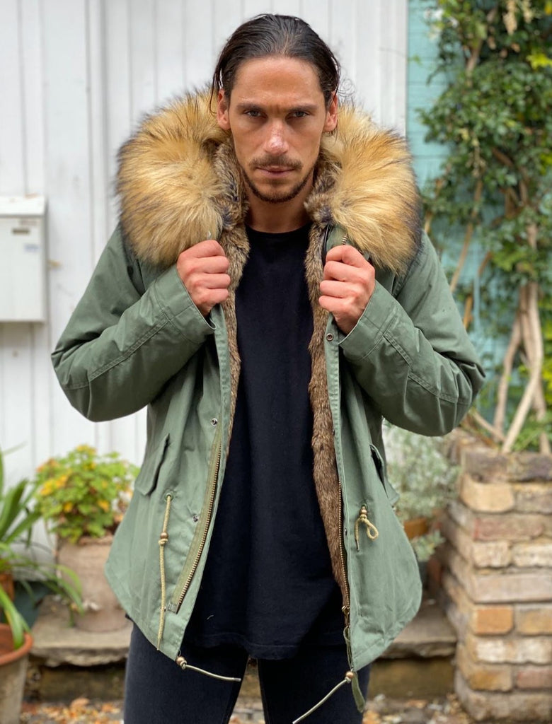 Mens Real Look Faux Fur Collar Parka Jacket with Natural Faux Fur