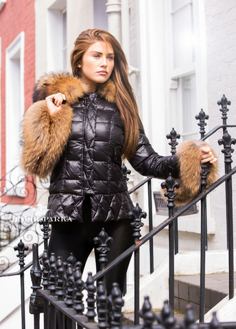Black Quilted Down Jacket Oversized Fur Hood in Natural