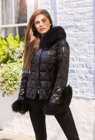 Black Quilted Down Jacket Oversized Fur Hood