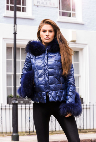 Blue Quilted Down Jacket Oversized Fur Hood