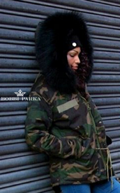 Ladies Camo Faux Fur Parka with Black Faux Fur