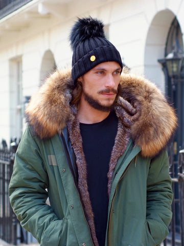 Mens Luxury Parka Jacket with Natural Collar
