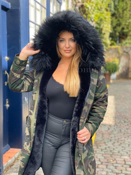 Ladies Real Look Faux Fur Collar Parka Jacket Camo with Black Faux Fur 3/4