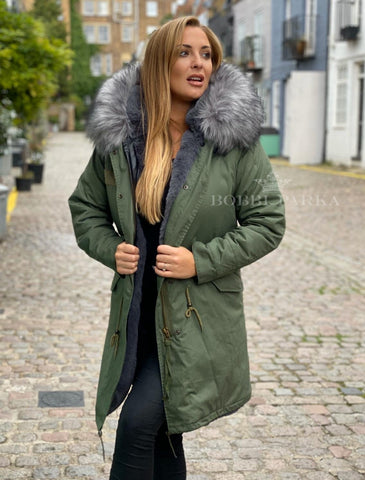 Ladies Luxury Collar Parka Jacket in Grey 3/4