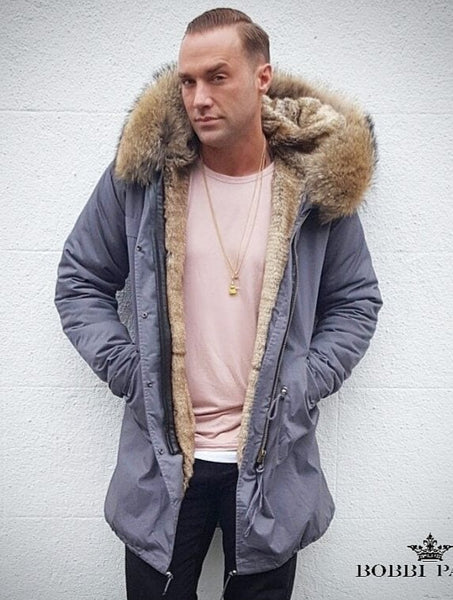 Calum Best Mens Luxury Collar Grey Parka With Natural Lining 3/4
