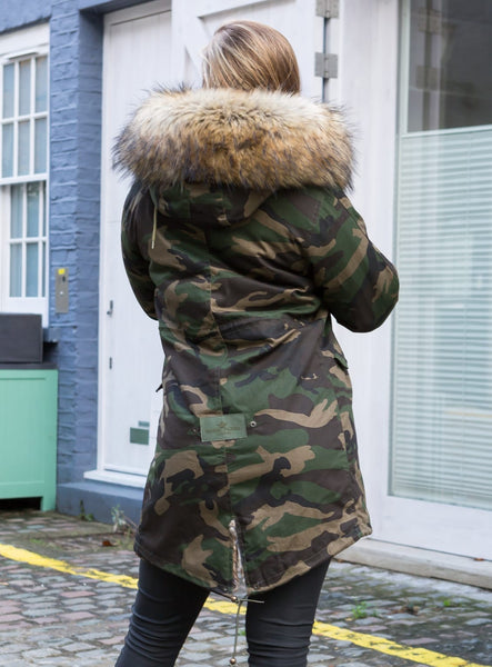 Ladies Real Look Faux Fur Collar Parka Jacket Camo with Natural Faux Fur 3/4