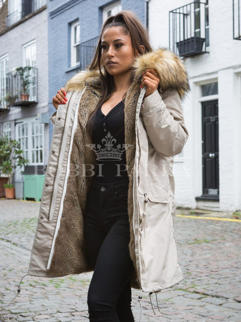Ladies Real Look Faux Fur Collar Parka Jacket with Natural Faux Fur 3/4